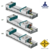 Kép 1/2 - Moduláris gépsatu 200X400, HRC 60÷62 keménység, 0,015 tűrés, MS vegyes, a rögzített pofa SP rögzített pofabetéttel és a mozgópofa ferdesíkú MP pofabetéttel