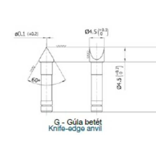 """Menetmikrométerek speciális és páros betétei - """"G"""" - Gúla betét"""