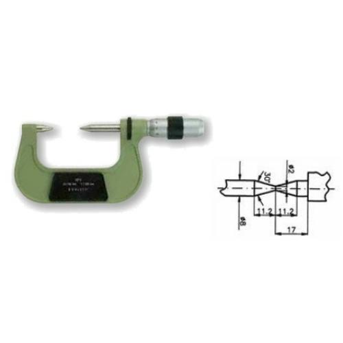 Század pontosságú mikrométerek lépcsős tengelyek méréséhez, 0-25 mm