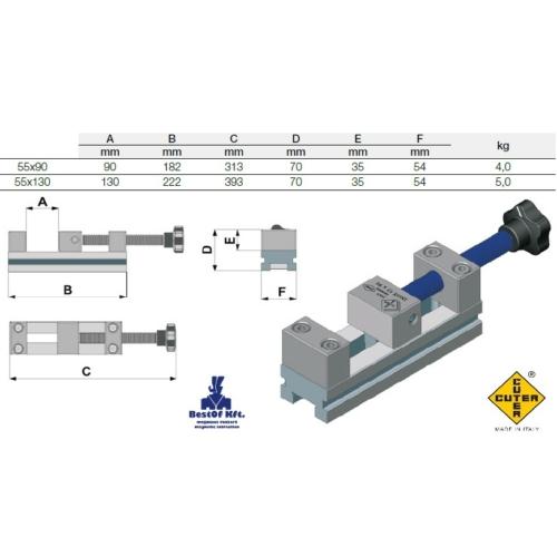 EDM Satu 55x130, szikraforgácsolásnál használható, edzett, rozsdamentes acélból készült satu, százados pontossággal