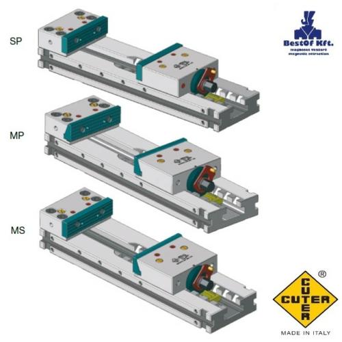 Moduláris gépsatu 200X500, HRC 60÷62 keménység, 0,015 tűrés, MS vegyes, a rögzített pofa SP rögzített pofabetéttel és a mozgópofa ferdesíkú MP pofabetéttel