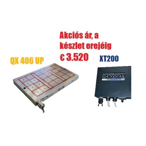 Akció - Elektro-permanens mágnesasztal, 400x600 mm, 24 pólus, 15 t rögzítőerő, QX 406 UP,  XT 200 vezérlővel