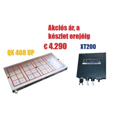 Akció - Elektro-permanens mágnesasztal, 400x790 mm, 32 pólus, 20 t rögzítőerő, QX 408 UP,  XT 200 vezérlővel