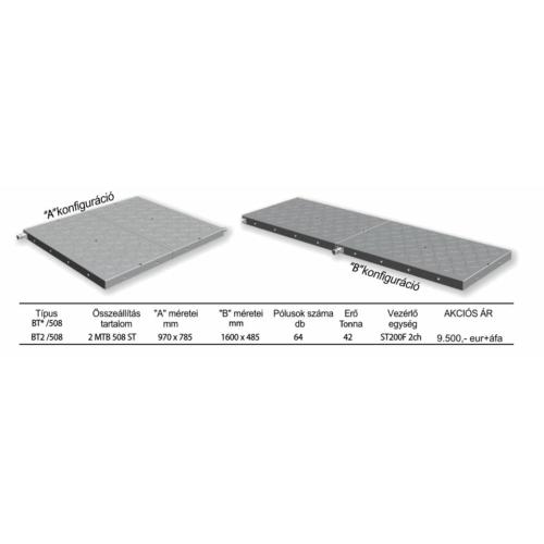 Akció - 2db Elektro-permanens mágnesasztal, 485x795x51 mm, 2x32 pólus, 2x21t rögzítőerő, 2xMTB 508 ST,  ST200 2 csatornás vezérlővel